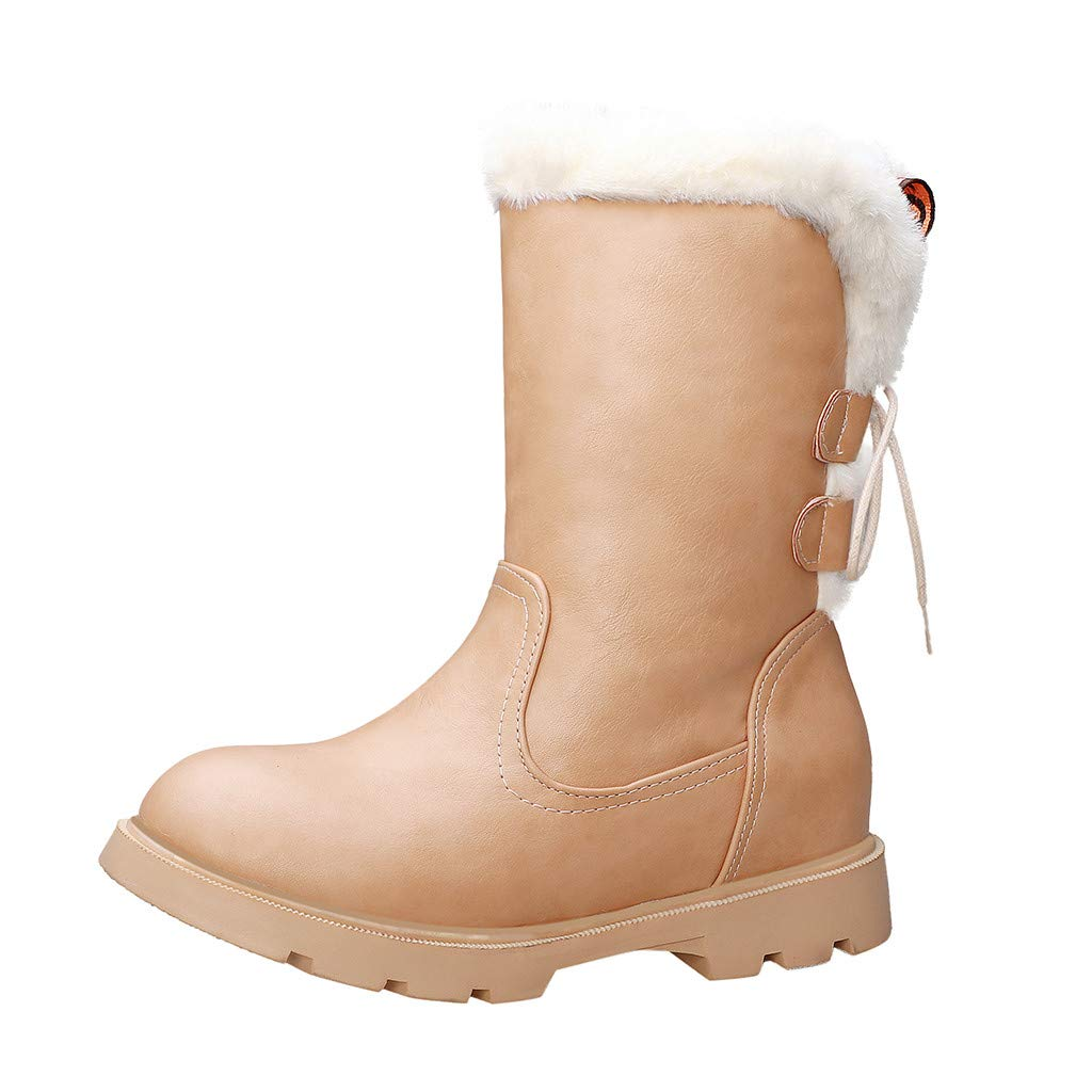 Women PU Leather Snow Boots | Ladies Warm Winter Fully Fur Lined Waterproof Booties | Comfortable Fashion Back Lace Up Anti-Slip Ankle Boots by Leadmall-Boot