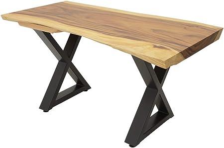 Nomadde Industriel Table Repas Plateau Bois Massif Forme Libre