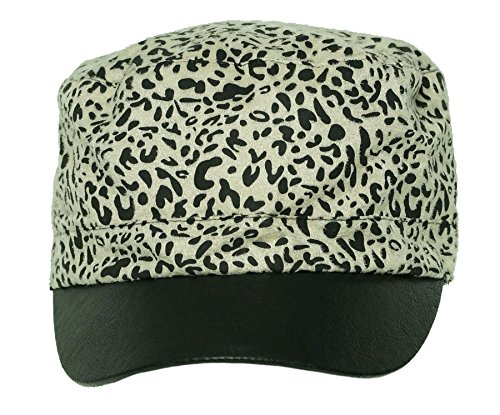 Collection XIIX Women's Cabbie Hat Animal Print Leopard Ivory