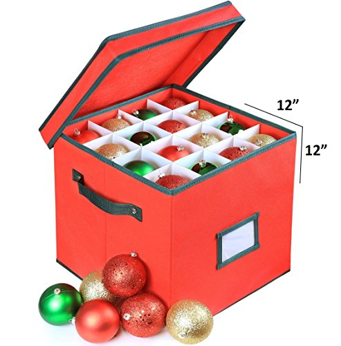 Premium Heavy Duty Ornament Fabric Storage Box With Deviders, 4 Removable Trays, Fits 64 Ornaments Balls, Red (1 Pack, Christmas)
