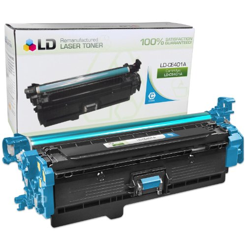LD © Remanufactured Replacement for HP CE401A / 507A Cyan Laser Toner Cartridge for HP LaserJet Enterprise 500 Color M551dn, M551n, M551xh, MFP M575dn, MFP M575f, and MFP M575c