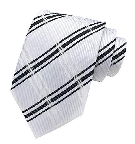 (MENDENG New Classic Striped White Black Streak 100% Silk Men's Tie Necktie)