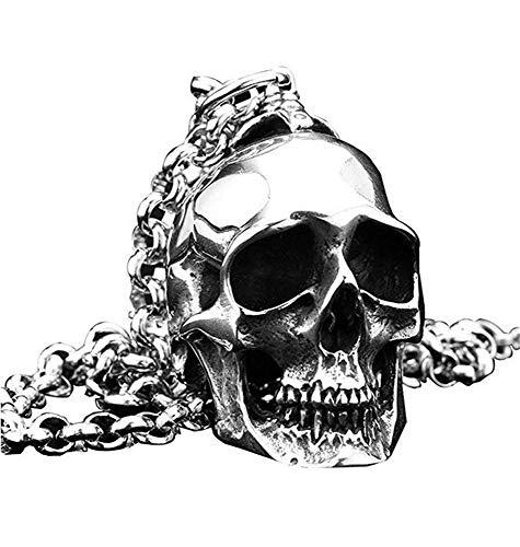 PAURO Men's Stainless Steel Gothic Biker Skull Pendant Necklace Punk Rock Silver Black Vintage
