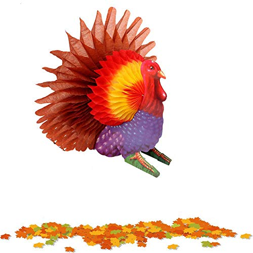 W-ShiG Thanksgiving Tissue Turkey Honeycomb Centerpiece for Holiday Thanksgiving Party Supply ()