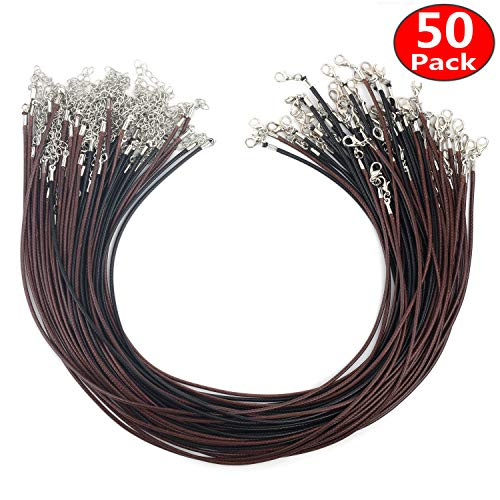 Angela_max 50pcs 18 Inches 1.5mm Black (25pcs) Brown (25pcs) Waxed Cotton Necklace Cord DIY Jewelry Making Ropes with Extension Chain Lobster Claw Clasp for Kids friend ()