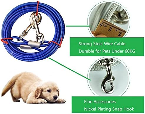 with 16 Inch spiral ground stake for Outdoor Yard and Camping Puppy pet and Medium Dogs 3m ShawFly Solid Dog Stake and Tie Out Cable Premium Steel Spiral Dog Tie 3m, 5m, 10m