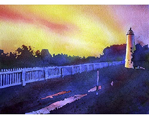 - Fine art watercolor painting of Ocracoke Island lighthouse at sunset in the Outer Banks (OBX) of North Carolina- USA (print).