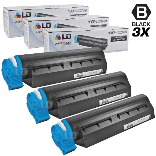 LD © Set of 3 Okidata Compatible 44574701 Black Laser Toner Cartridge for the MB461 MFP, MB471, MB471W, B411d, B411dn, B431d and B431dn Printers