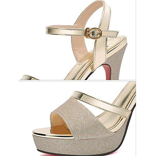 color Comfort uk4 Wedding Size For Summer High Eu36 Party cn36 Women Gold Sandals Silver amp; Evening Heel Pu Women's Spring Shoes Novelty Haizhen Gold UBnq0P7