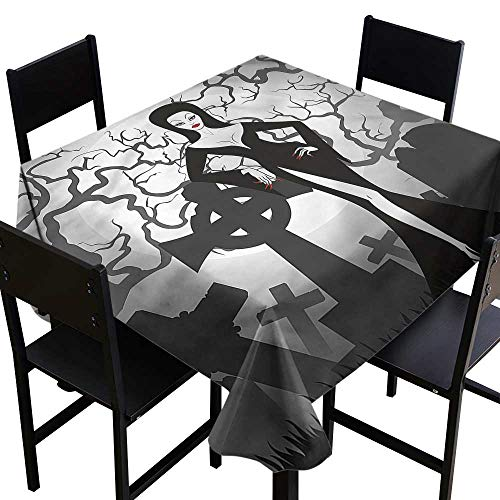 Vampire Washable Square Tablecloth Sexy Witch Cemetery High-end Durable Creative Home 36 x 36 Inch]()