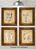 Original Woodworking Tools Patent Prints - Set of Four Photos (8x10) Unframed - Great Gift for Carpenters and Woodworkers