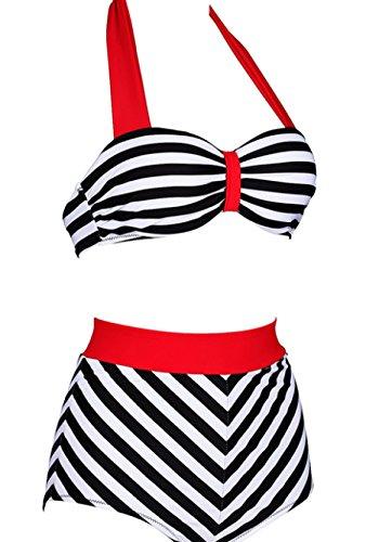 KUWOMINI.Bikini Europa Raya Recoger Aumento Traje De Baño Swimweari BlackStripes