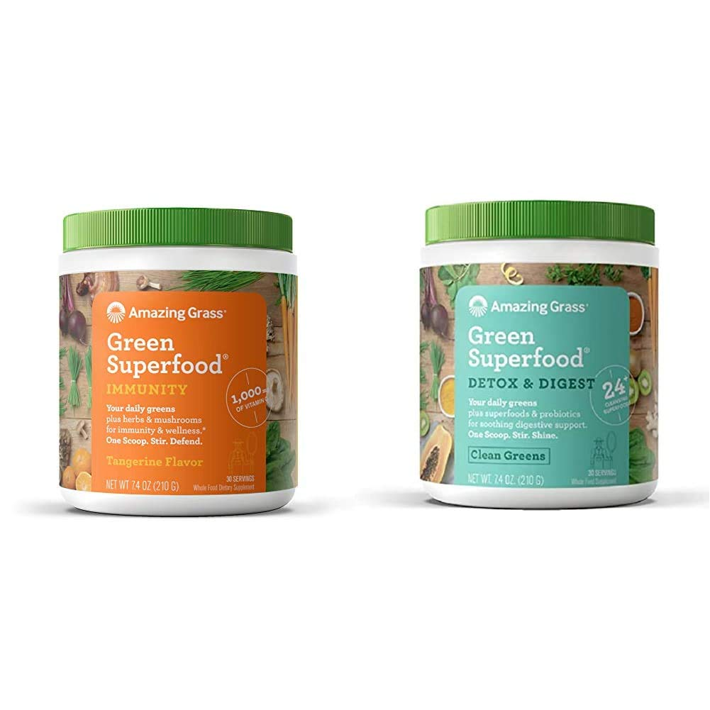 Amazing Grass Green Superfood Immunity: Super Greens Powder with Vitamin C, 30 Servings & Green Superfood Detox & Digest: Cleanse with Super Greens Powder, Digestive Enzymes, 30 Servings