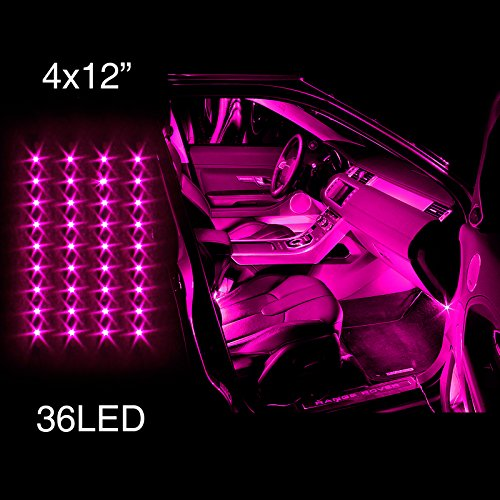 PINK 4pcs 36 LED Waterproof Three Mode Neon Accent light Kit for Car Interior Trunk Truck Bed Bush Fender (Pink Led Lights Car)