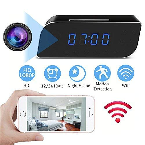 MINGYY Hidden Camera Clock HD 1080P WiFi Spy Camera Wireless Night Vision Camera Motion Activated Camcorder Photo Record Monitoring for Home Office Security Surveillance ()