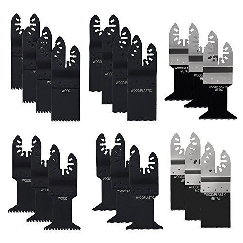 20 pcs Multitool Blades, Lichamp Mixed Precision Quick Release Multi Tool Oscillating Saw Blades for Metal Wood Plastic, Flush Cutting Blades Fit Bosch Black & Decker Dewalt Porter Cable