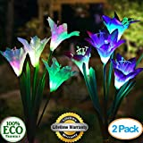 backyard lighting ideas TONBUX Solar Ground Lights, Upgraded Garden Pathway Lights Outdoor Waterproof with 8 LED for Driveway, Deck, Garden, Landscape Lighting (2 Pack Lily, Purple and White)