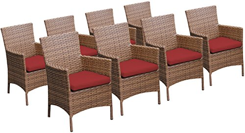 TK Classics 8 Piece Laguna Dining Chairs with Arms, Terracotta ()