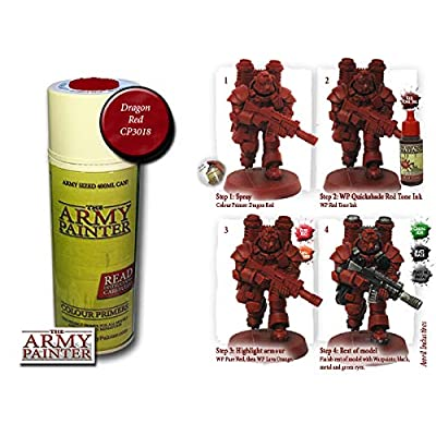 The Army Painter Color Primer, Dragon Red, 400ml, 13.5oz - Acrylic Spray Undercoat for Miniature Painting: Toys & Games