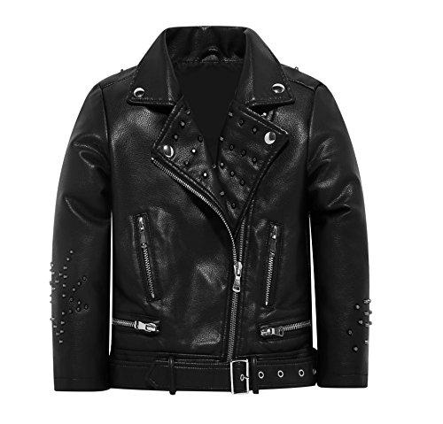 Boys Leather Jacket Girls Kids Fur Winter Biker Outerwear Twins Dream Black 5T 6T]()