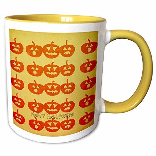 3dRose PS Halloween - Pumpkin Faces Happy Halloween Fun Art - 11oz Two-Tone Yellow Mug (mug_79391_8) (Halloween Pumpkin Faces Pics)