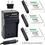 Kastar BP-70A Battery (3-Pack) and Charger Kit for Samsung BP70A, EA-BP70A work with Samsung AQ100, DV150F, ES65, ES67, ES70, ES71, ES73, ES74, ES75, ES80, MV800, PL20, PL80, PL90, PL100, PL101, PL120, PL170, PL200, PL201, SL50, SL600, SL605, SL630, ST30, ST60, ST61, ST65, ST66, ST67, ST70, ST71, ST72, ST76, ST80, ST90, ST93, ST95, ST100, ST150F, ST700, ST6500, TL105, TL110, TL205, WB30F, WB35F, WB50F, WP10 Cameras
