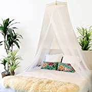 BOBOBEE - Premium Bed Canopy Mosquito Net Curtains Includes 3 Boho Pom Pom Decorations and Hanging Kit, Large Queen Size, White, For Girls, Toddlers And Adults Or Over Baby Crib