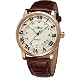 Carrie Hughes Fashion Automatic Mechanical Date Rose gold case Brown Leather Men's Watch CHTM142