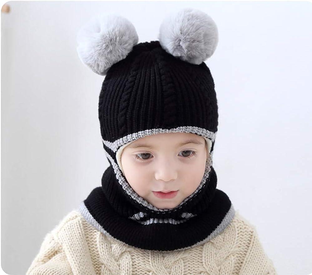 Girls Boys Winter Warm Hats Balaclavas Hat Scarf Earflap Hood Scarves Soft Thermal Fleece Windproof Ski Beanie Skull Caps