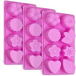3 Piezas Moldes de Silicona, FineGood Torta de 8 Cavidades Bombones de Caramelo de Chocolate Jalea de jabón Molde para hacer bandejas para hornear en la cocina, flores, hojas y forma de corazón - Rosa