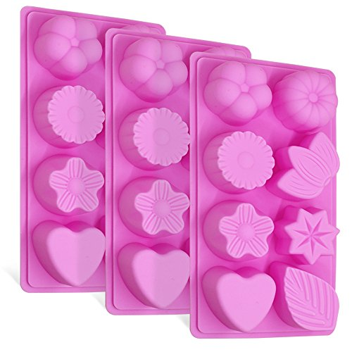3 Pcs Silicone Molds, FineGood 8-Cavity Cake Chocolate Candy Pudding Jelly Soap Muffin Making Trays for Kitchen Baking, Flower, Leaf and Heart Shaped - Pink ()