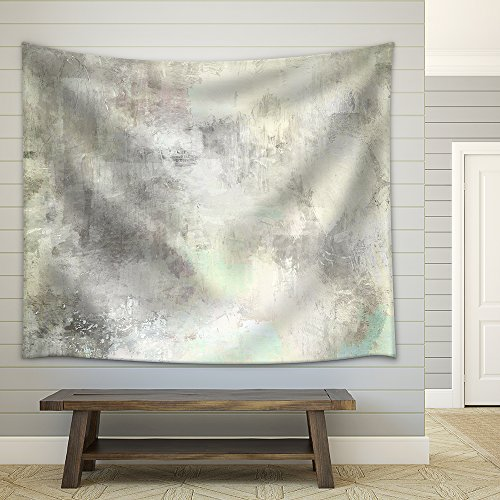 Art Abstract Acrylic Background in Light Grey and White Colors Fabric Wall Tapestry