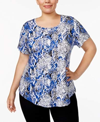 JM Collection Plus Size Printed Short-Sleeve Top, Created for Macy's