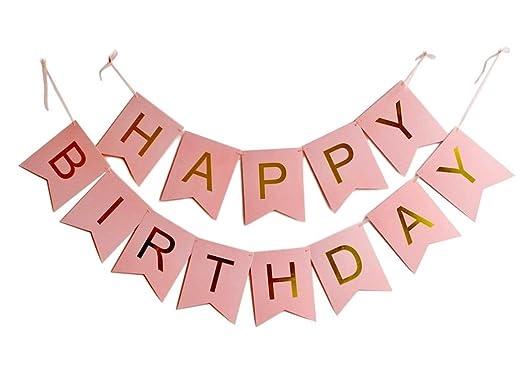 Harty Party - Banderines de oro rosa para cumpleaños ...