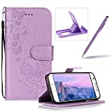 Wallet Leather Case for Samsung Galaxy S7 Edge,Strap Leather Cover for Samsung Galaxy S7 Edge,Herzzer Premium Elegant Purple Dandelion Butterfly Printed Magnetic Foldable Full Body Folio Pu Leather Soft Inner Stand Cover with Card Slots