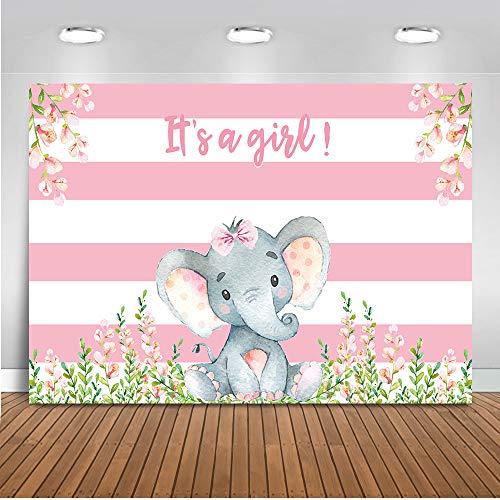 Mehofoto Girl Elephant Baby Shower Backdrop Pink Flower Elephant Photography Background 7x5ft Vinyl Elephant Baby Shower Party Banner Backdrops ()