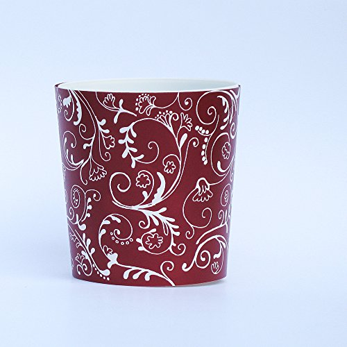 Whimsical Red Polka Dot and Floral Damask Flower Pot Vase and Gift Tag - Set of 6 ()