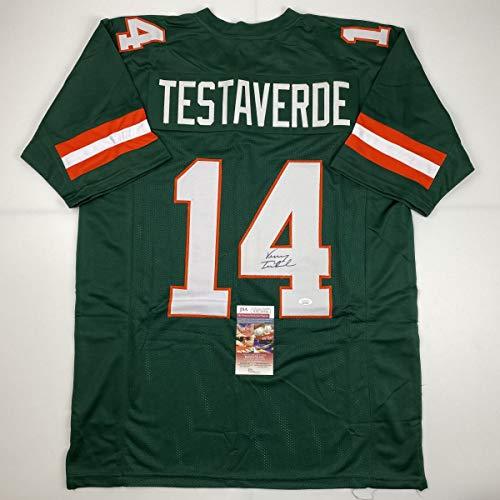 Autographed/Signed Vinny Testaverde Miami Green College Football Jersey JSA COA