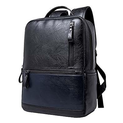 Jitong Hombres Mochilas Deporte PU Cuero Mochila Escolar Ligera Casual Bolsos de Viaje (Negro Azul