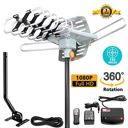TV Antenna -Outdoor Amplified HDTV Antenna 150 Mile Motorized with Adjustable Antenna Mount Pole for 2 TVs Support - UHF/VHF 4K 1080P Channels Wireless Remote Control - 33FT Coax -