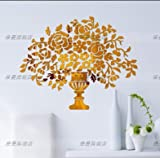 CLG-FLY Crystal acrylic mirror wall stickers porch living room bedroom den TV background wall vase of flowers stickers,Shallow Jin Jing (thickened 1.5-2 mm thickness),King size