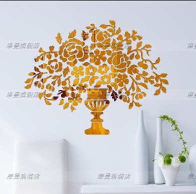 CLG-FLY Crystal acrylic mirror wall stickers porch living room bedroom den TV background wall vase of flowers stickers,Silver mirror (thickened 1.5-2 mm thickness),King size