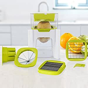 4 in 1 Wonder Chop - Chop, Dice, Fine Chopper and Fruit Wedger - 4 Interchangeable Blades - Compact Design - Perpetual Peeler and eBook included