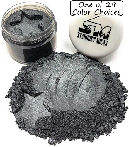 Powdered Mother Of Pearl - Stardust Micas Metallic Mica Pigment Powder Cosmetic Grade for Soap Making, Epoxy Resin, Makeup, Coloring Slime, Bright True Colors Stable Mica Colorant Black Carbon