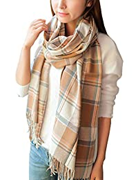 Women's Fashion Long Shawl Big Grid Winter Warm Lattice...