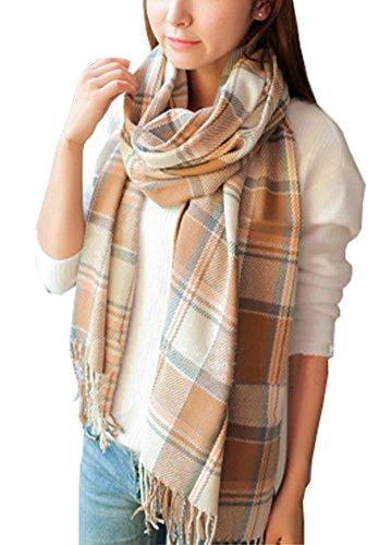 Wander Agio Womens Scarves Warm Long Shawl Wraps Wool Large Scarf Gird Beige