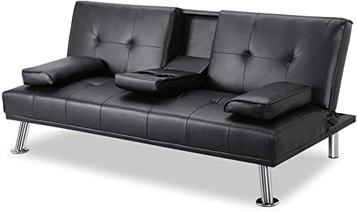 DKLGG Sofa Bed Futon Couch Faux Leather Sleeper Convertible Love Seat Sofas w Metal Leg