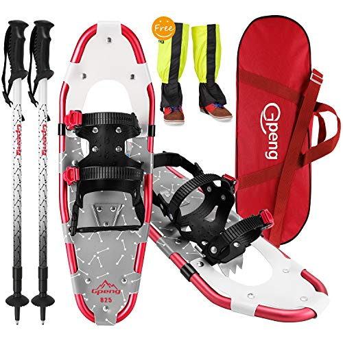 Gpeng 4-in-1 Xtreme Lightweight Terrain Snowshoes for Men Women Youth Kids, Light Weight Aluminum Alloy Terrain Snow Shoes with Trekking Poles and Free Waterproof Leg Gaiters, 14