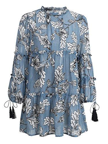 Simplee Apparel Suelta de manga larga mujeres con estampado floral mini vestido de gasa blusa Boho Azul