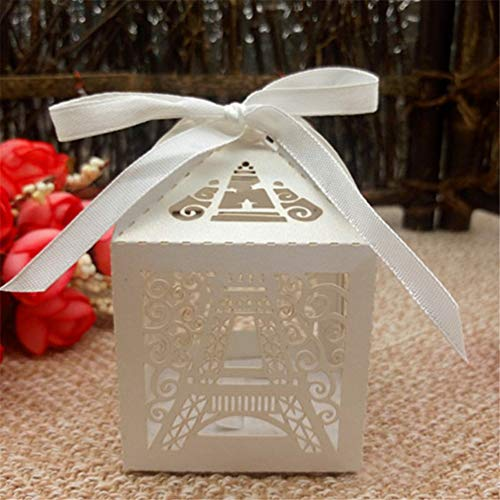 Hoxekle 50 Pcs Wedding Candy Box Chocolate Packaging Paris Eiffel Tower Personalized Wedding Box Marriage And Gifts Baby Shower